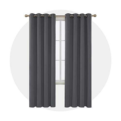 Deconovo Room Darkening Curtains with Grommet Thermal Insulated Blackout Curtains for Office 52W x 95L Inch Dark Grey 1 Pair