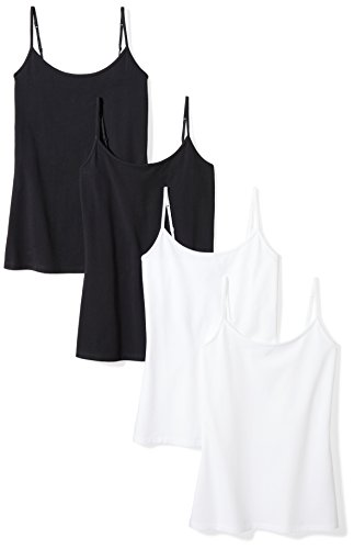 Amazon Essentials Women's 4-Pack Camisole, Black/Black/White/White, Small by Amazon Essentials (Image #4)