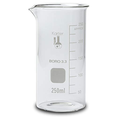 250ml Beaker, Tall Form, 3.3 Borosilicate Glass, Single Scale, Karter Scientific 213F13 (Single)