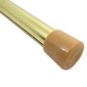 Graber 3/4'' Round Spring Tension Curtain Rod (28 to 48-Inch Adjustable Width, Brass) by Graber