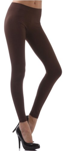 Brown Footless Tights (ToBeInStyle Women's Footless Elastic Leggings - One Size - Brown)