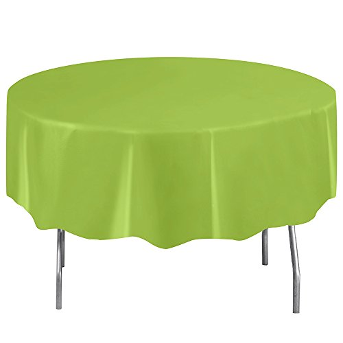Round Neon Green Plastic Tablecloth