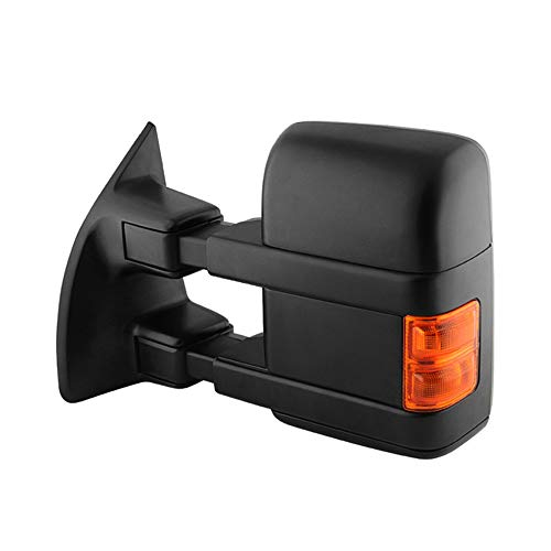 VIPMOTOZ Heated Power Remote Driver Side Left View Telescopic Turn Signal Exterior Towing Mirror & Glass Replacement For 2008-2016 Ford Superduty F-250 F-350 F-450 F-550 Pickup Truck