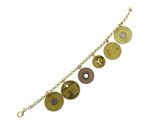 - Wonderful Estate 18K Rose Yellow Gold MTA NY Subway Token Charm Bracelet