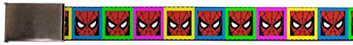 "Blank Chrome 1.25"" Buckle - Spider-Man Face Multi Color Blocks Webbing"