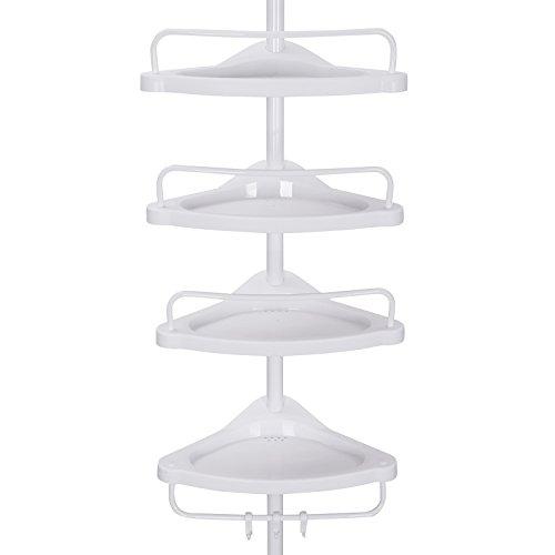 -[ Songmics 85-305 cm 4 Tier Adjustable Shower Corner Shelf Telescopic Bathroom Organiser BCB001A