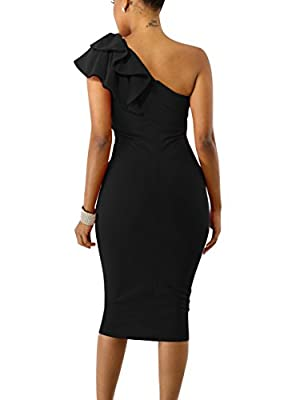 Mokoru Women's Sexy Ruffle One Shoulder Sleeveless Bodycon Party Club Midi Dress
