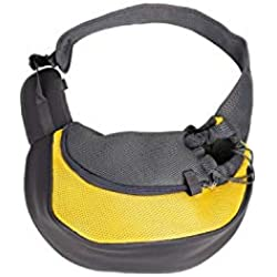 Pet Carrier Bag Bag Cat Puppy Outdoor Bags Small Animal Dog Carrier Sling Front Mesh Travel Shoulder Bag Backpack,Yellow,L