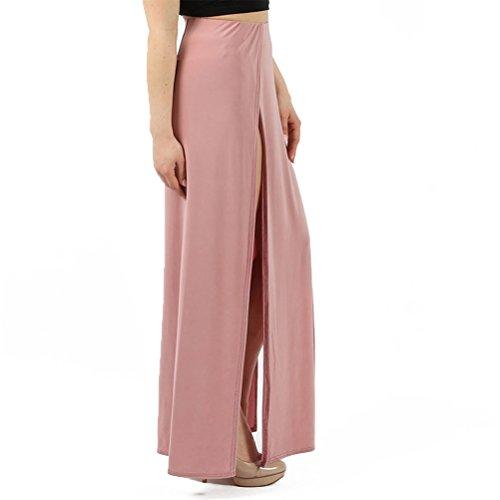 Belldan Solide Longue Maxi Longue Taille Fendue Longue Jupe Longue pour Femmes Rouge