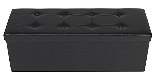 Storage Ottoman ,Foldable Storage Bench , Faux leather and T