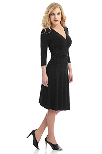 Yidarton Damen Cocktailkleid V-Ausschnitt Etuikleid Langarm Kleider Stretch Abendkleid Elegante Partykleid Schwarz