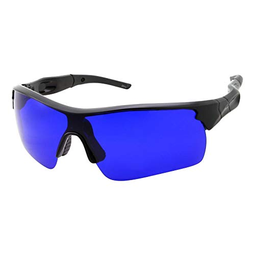 Men's Golf Ball Finder Glasses - True Blue Lens - Sports Style Frame - Wrap Around Sunglasses (Black) -