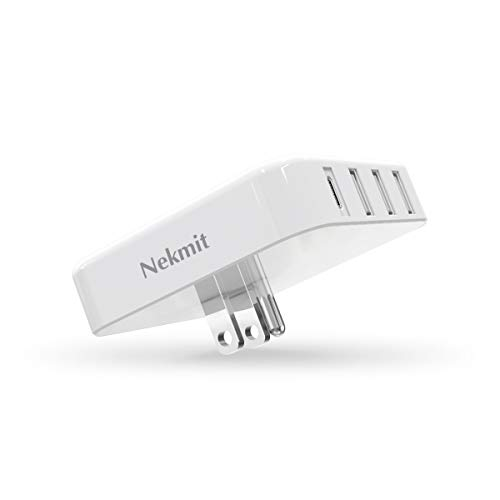 Nekmit USB C Charger, 4-Port 35W Thin Flat USB Wall Charger with One 18W Power Delivery, White