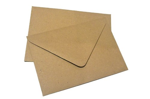 100x C6 Plain Flecked Recycled Kraft Card Envelopes Natural Brown (114x162mm A6) UK