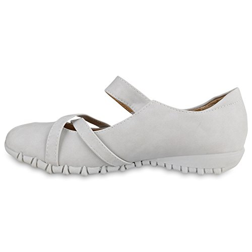 Stiefelparadies Damen Riemchenballerinas Flats Profilsohle Leder-Optik Schuhe Flandell Grau
