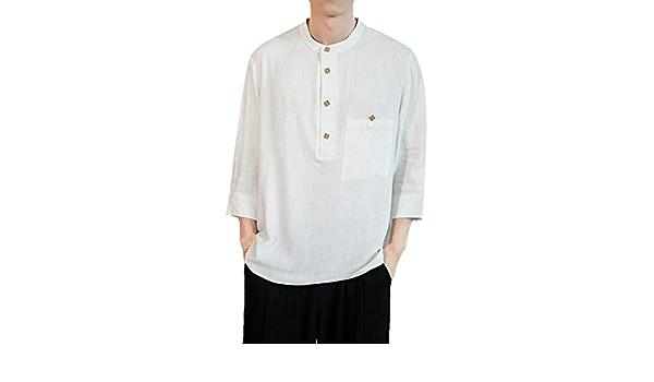 Xmiral - Camisa para Hombre (Lino y algodón, Manga Corta, 3 ...