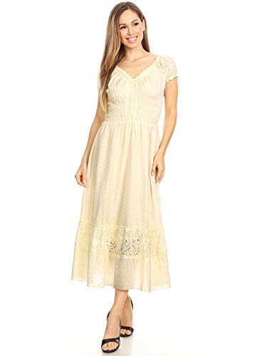 Anna-Kaci Renaissance Peasant Maiden Boho Inspired Cap Sleeve Lace Trim Dress, Beige, XX-Large]()