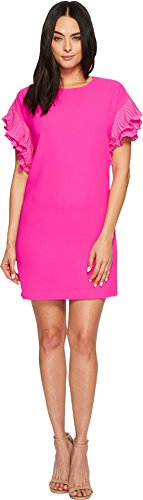 Tiered Flutter Sleeve (CeCe Women's Tiered Pleated Sleeve Moss Crepe Dress Garden Rose 6)