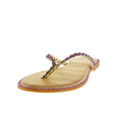 Fushia A Infradito Angkorly 1 Donna Tacco Cm Blocco Scarpe Intrecciato Sandali Moda 5 Lucide c6BOqTwBxU