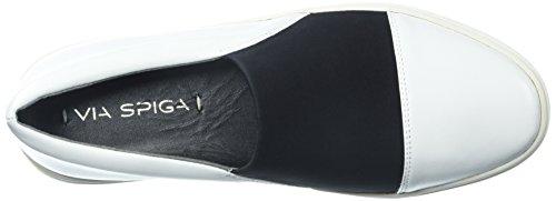 Via Spiga Womens Raine Slip Sneaker Vitt Läder / Svart Neopren