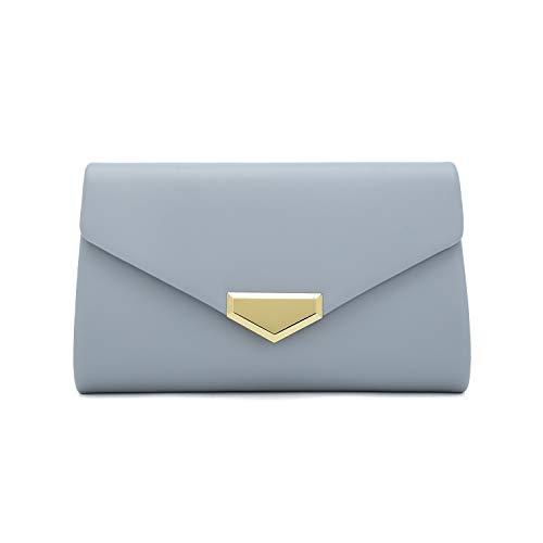 Charming Tailor PU Clutch Purse for Women Evening Bag Chic Clutch Handbag for Special-occasion (Powder Blue) ()