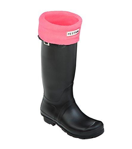 Festival Ladies Original Tall Warm Winter Rain Wellies Wellington Boots Sizes 3-9 UK Black M / Pink PceNUUgiK