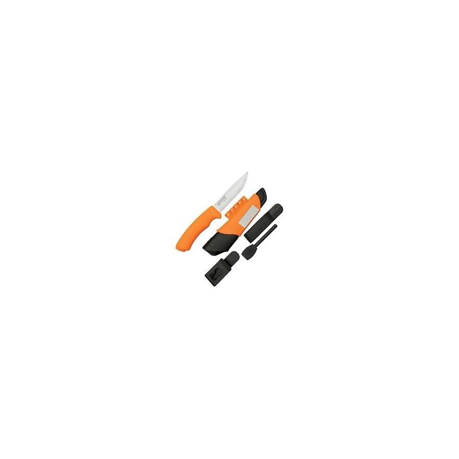 Morakniv Bushcraft Stainless Steel 4.3 Inch Fixed Blade Survival Knife with Fire Starter and Sharpener, Orange