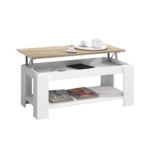 Mesa Centro con revistero, Mesa elevable, mesita Mueble Salon Comedor, Acabado en Blanco Artik y Roble Canadian, Medidas…
