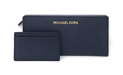 - Michael Kors Jet Set Travel Leather Medium Large Card Case Carryall Wallet with Removable ID Card Holder (Navy/Pale Blue)