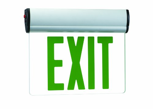 Royal Pacific RXL17GBA Single Face Slope Ceiling Edge Lit Exit Sign, Brushed Aluminum with Green Letters