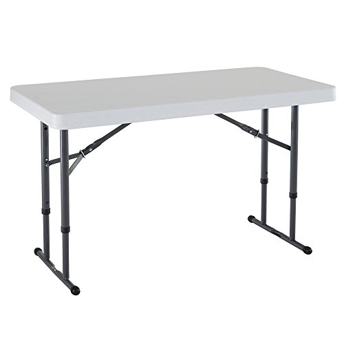 (Lifetime 80160 Commercial Height Adjustable Folding Utility Table, 4 Feet, White Granite)