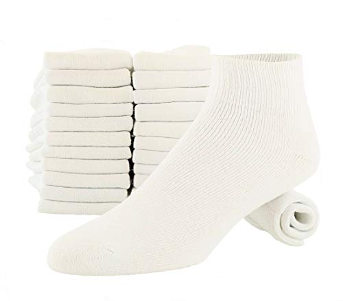 (Men's Athletic Low Cut Ankle Quarter Socks 12-Pairs White Cotton Cushion Shoe Size 8-12 Sock Size 10-13)
