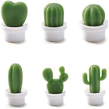 6 Pcs Cute Refrigerator Magnets Cactus Magnets Fridge Magnet Locker Magnet Funny Cute Magnets for Home Kitchen Decor (White)