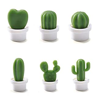 6 Pcs Cute Refrigerator Magnets Cactus Magnets Fridge Magnet Locker Magnet Funny Cute Magnets for Home Kitchen Decor (White)