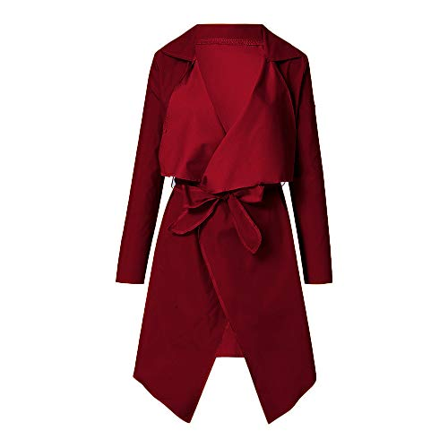 NUWFOR Women's Loose Solid Irregular Hem with Lapel Coat Trench Coat Cardigan Tops(Wine,M) by NUWFOR (Image #1)