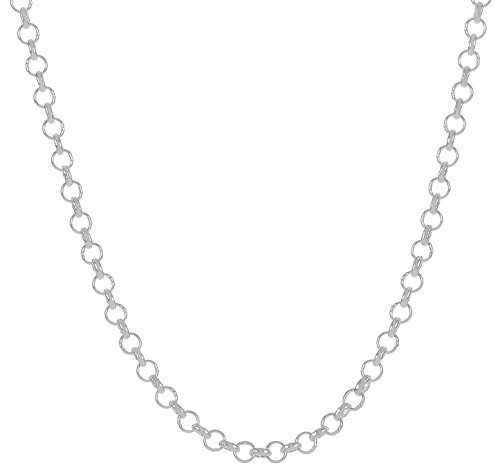 925 Sterling Silver Nickel-Free 2mm Rolo Cable Link Chain , 24 inches - Made in Italy + Bonus Cloth (Rolo Chain Silver Sterling Link)