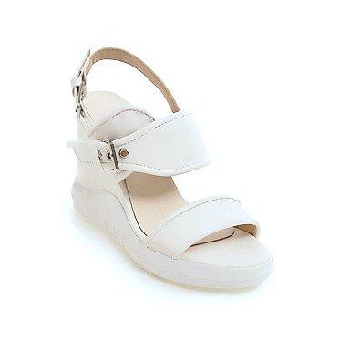 KYDJ @ Mujer-Tacón Cuña-Zapatos del club-Sandalias-Exterior Vestido Informal-Semicuero White