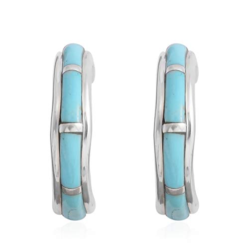 925 Sterling Silver Kingsman Turquoise Southwest Jewelry Hoops Hoop Earrings for Women Gift