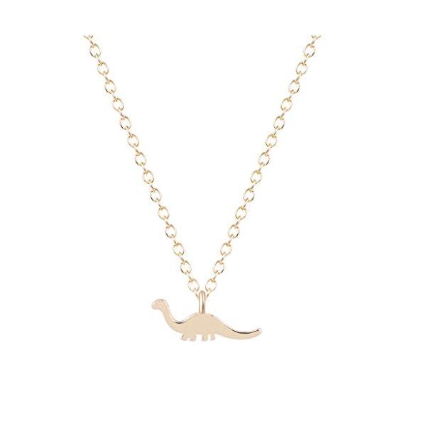 Qiandi Lovely Animal Steampunk Apatosaurus Dinosaur Necklace Pendant Minimalist Jewelry for Women Girls 3