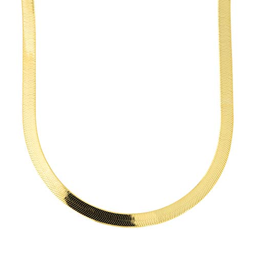 14k Yellow Gold 4.0mm Imperial Herringbone Necklace, 18