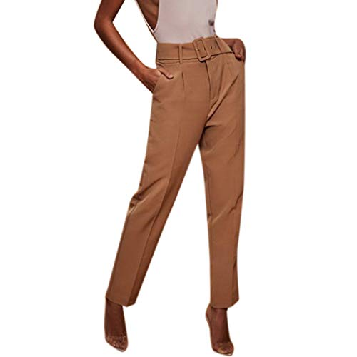 Botrong Pants for Women, Solid High Waisted Loose Pencil Pants Stretch Long Trousers with Pockets Khaki