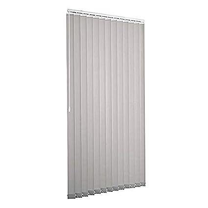 Ventanara Lamellenvorhang Grau raumverdunkelnd 100% Komplettset Vertikaljalousie 89mm inklusive Montagematerial 150 x 180 cm