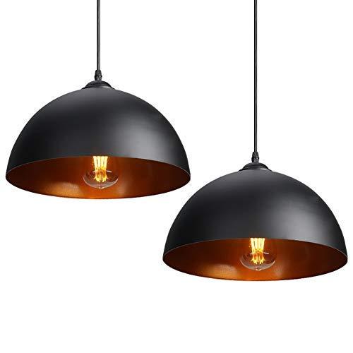 CCLIFE 2 Unidades Lámpara de techo Vintage Lámpara colgante Lámpara vintage industrial Lámpara Colgante Retro de Metal Casquillo E27,Ø300mm, Color:Negro a buen precio