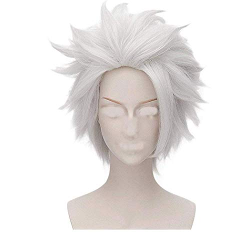 FVCENT Beetlejuice Wig Unisex Short Layered Silver