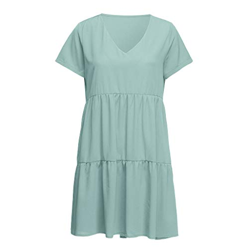 WILLBE Mini Dress Women Summer Dress V Neck Casual Loose Flowy Swing Shift Dresses Swing Casual Short T-Shirt Dresses Mint Green ()