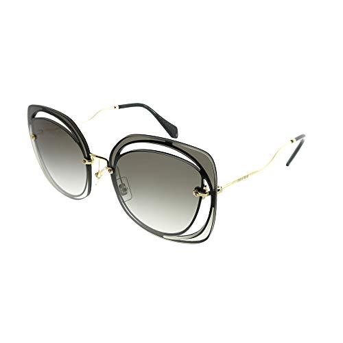Miu Miu MU54SS 1AB0A7 Black MU54SS Oval Sunglasses Lens Category 2 Size 64mm (Miu Miu Black Sunglasses)