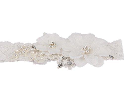TRLYC Rhinestone Beaded Lace Garters Wedding Lace Garter Bridal Accessory