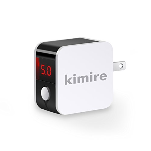 Wall Charger Kimire Digital Travel Charger 2.4A Dual USB Port Charge Power Adapter with LED Display,IC Smart Explosion Protection and Foldable Plug,for iPhone,Android,Power Bank and More (White)