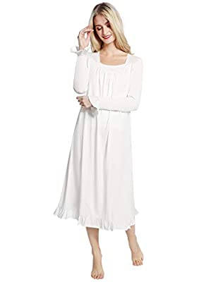 AMONIDA Cotton Victorian Nightgowns for Women Lace Long Sleeve Sleepwear for Christmas S-2XL
