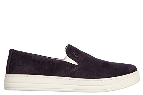Prada women's suede slip on sneakers blu US size 7 3S5802 O53 - Online Prada Shoes